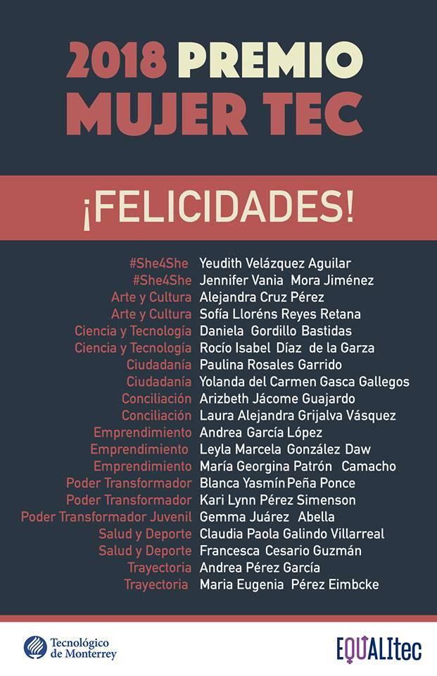 10 Frases De Mujeres Ganadoras Del Premio Mujer Tec 2018