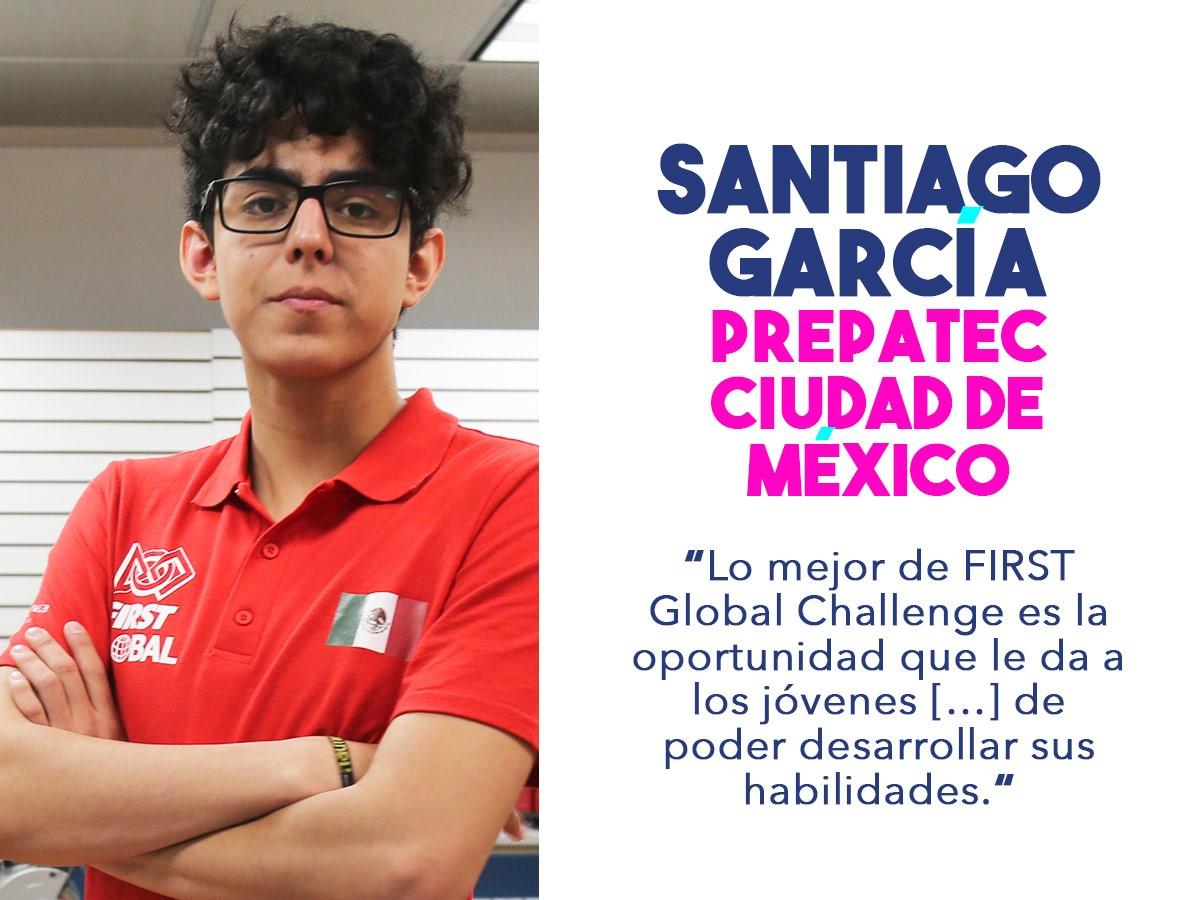Santiago, miembro del equipo mexicano que competirá en el FIRST Challenge 2018.