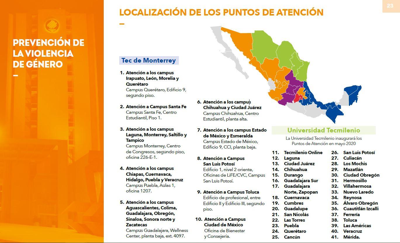 Mapa de México con la localización de las 41 oficinas de atención del Centro de Reconocimiento a la Dignidad Humana del Tec de Monterrey