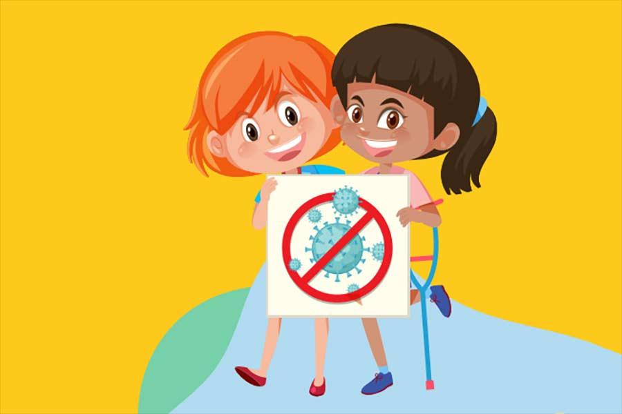 Dibujo de dos niñas sosteniendo una hoja con ilustración de coronavirus. Realizado por UNICEF