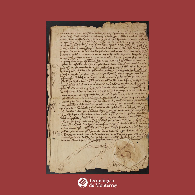 Titulo de una concesion de tierras hecha por Hernan Cortes