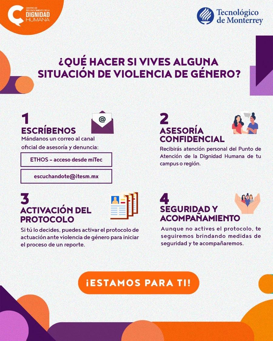 Guía de 4 pasos del Tec de Monterrey para saber qué hacer si vives alguna situación de violencia de género