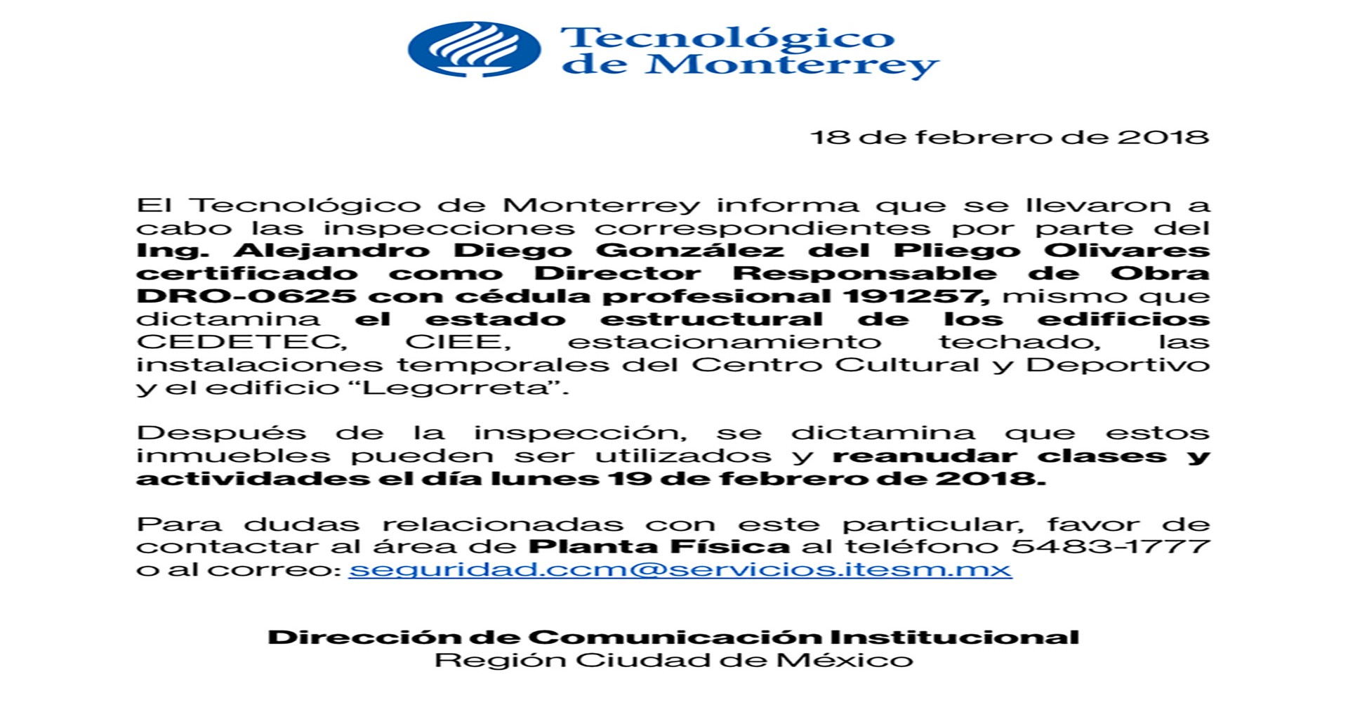 Comunicado reanudación de clases | Tecnológico de Monterrey