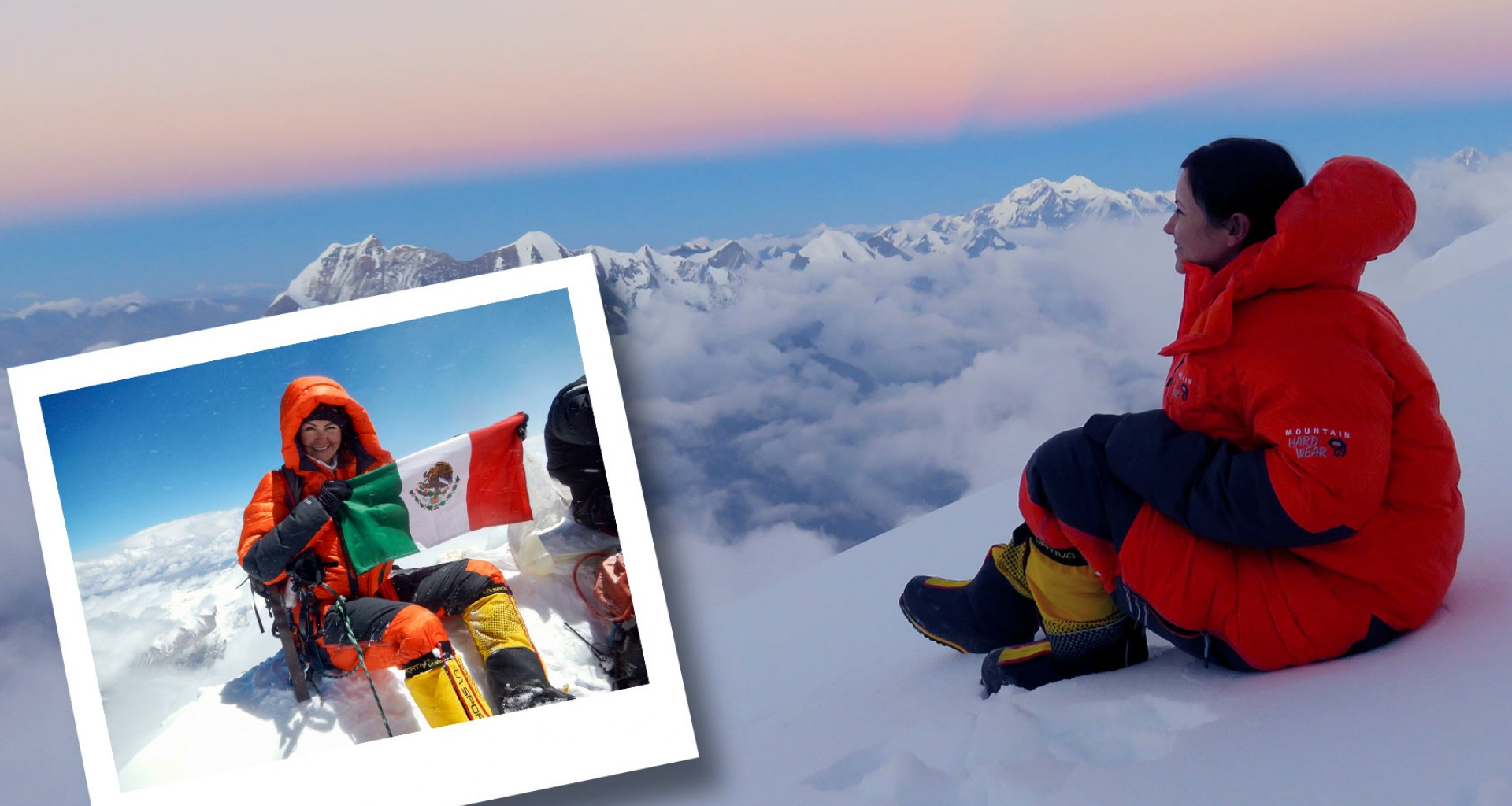 From here to the top! She climbed the highest mountains in the world